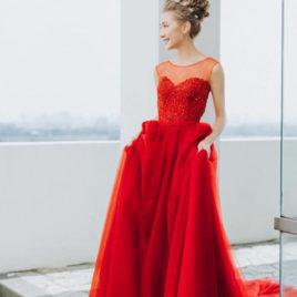 紅禮服 手工婚紗禮服
