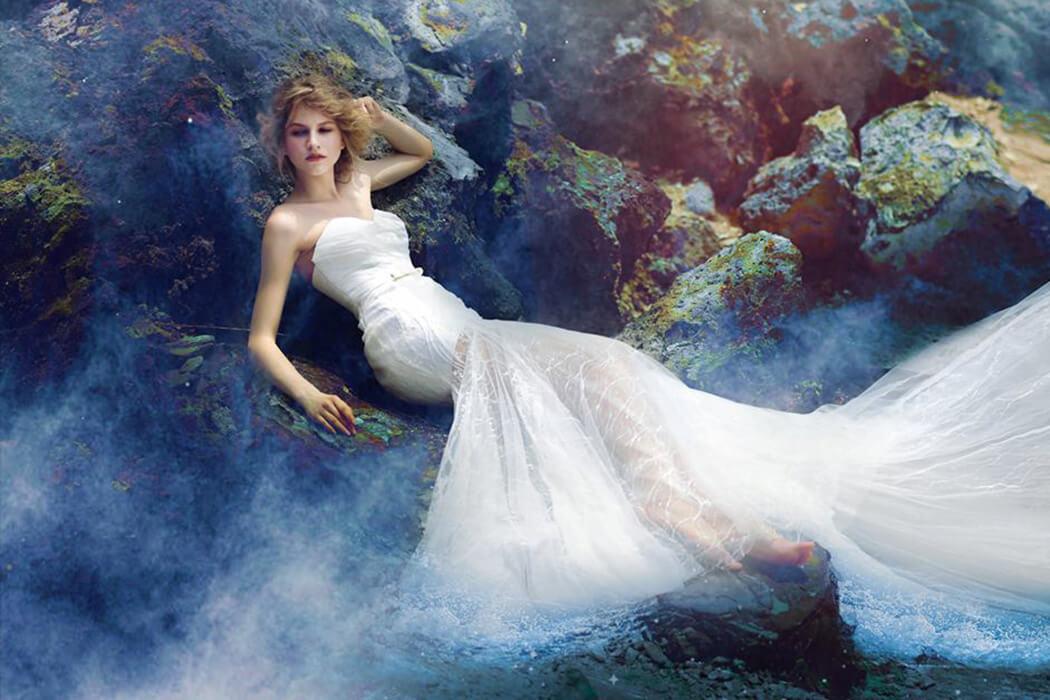 蕾絲美式魚尾手工婚紗