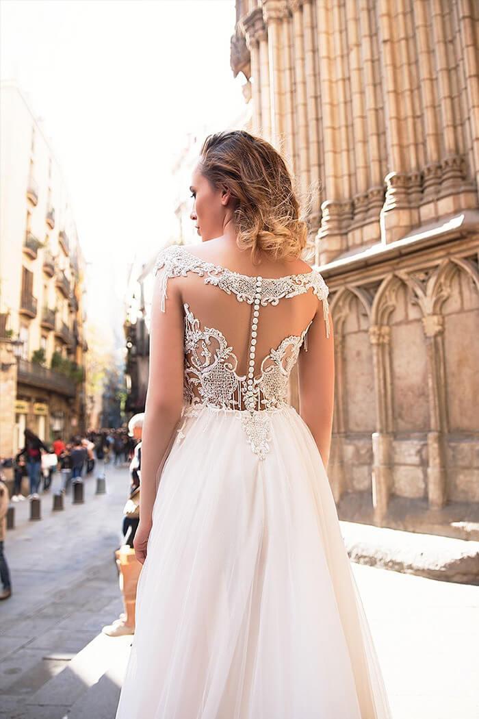 一字露肩領型婚紗禮服.手工婚紗
