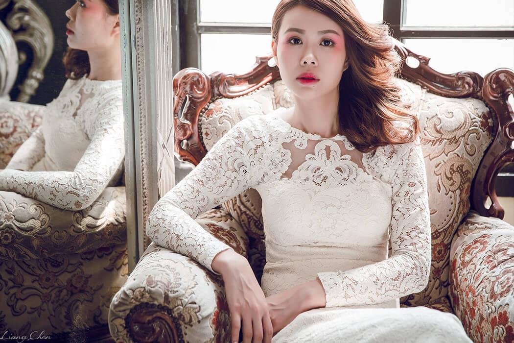 手工婚紗- 象牙白蕾絲白紗禮服