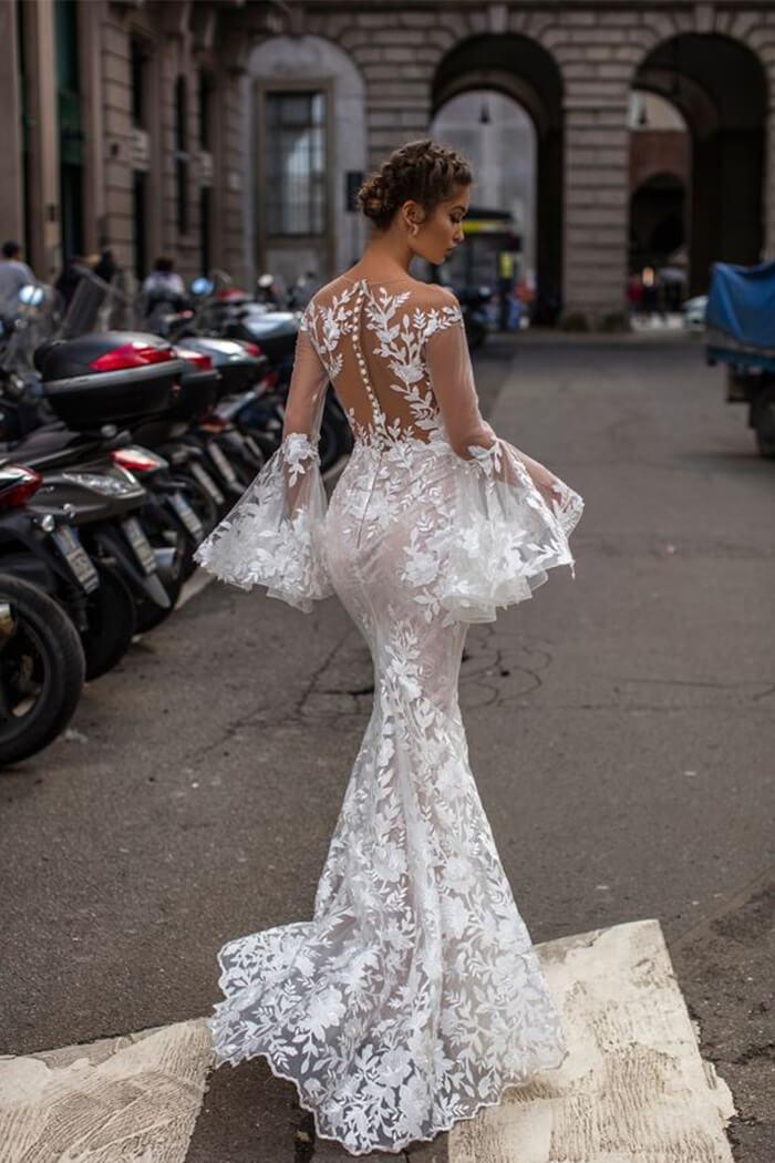 全蕾絲魚尾手工婚紗