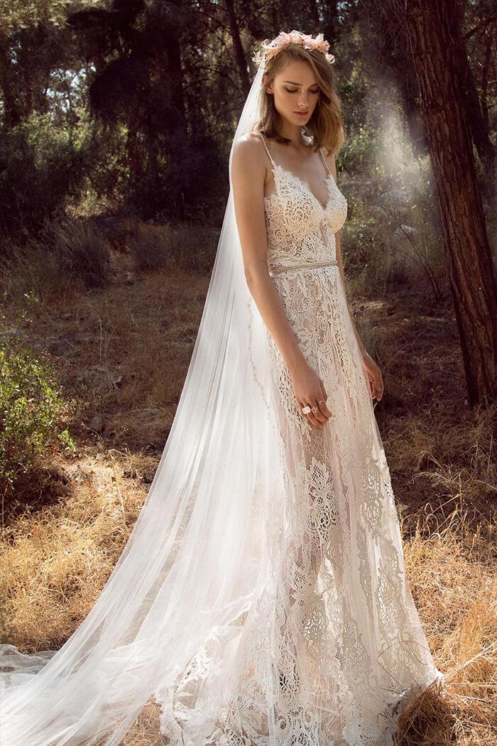 波希米亞風格手工婚紗禮服,蕾絲白紗禮服