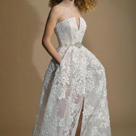 手工婚紗-刺繡蕾絲正面開衩設計款簍空禮服